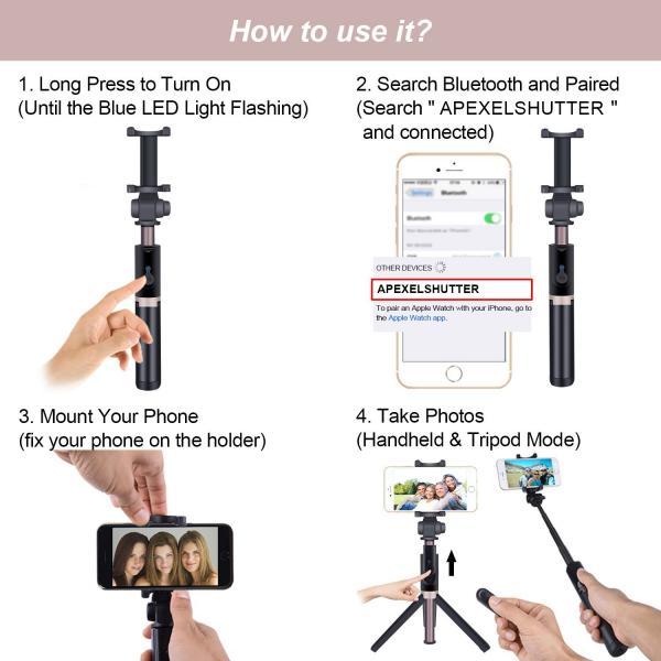 Selfie stick premium cu brat extensibil, telecomanda si trepied, negru, D3 [2]