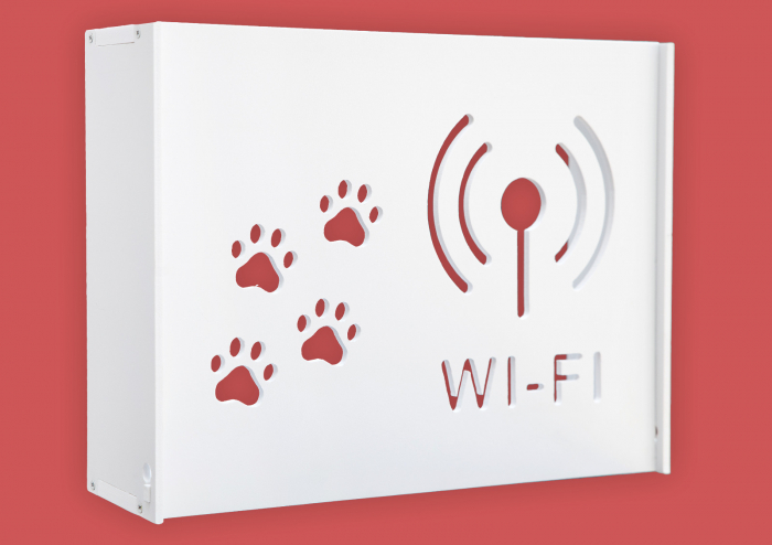 Suport Router Wireless Cat 36x28x9 cm, alb, pentru mascare fire si echipament Wi-Fi, cu posibilitate montare pe perete Optimus AT Home [0]