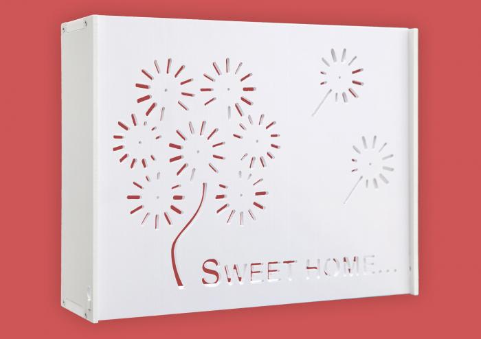 Suport Router Wireless Home 36x28x9 cm, alb, pentru mascare fire si echipament WI-FI, posibilitate montare pe perete [0]