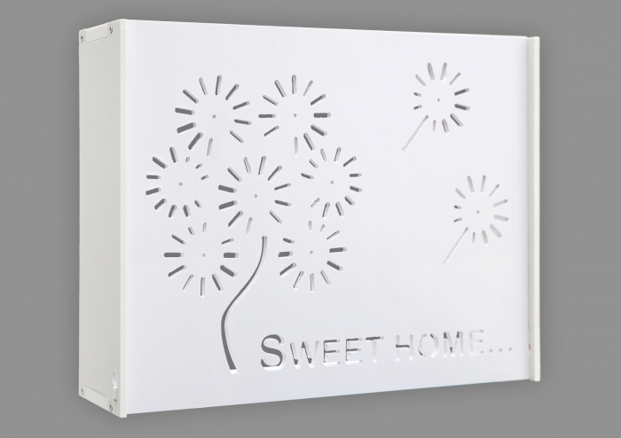 Suport Router Wireless Home 60x40x10 cm, alb, pentru mascare fire si echipament WI-FI, posibilitate montare pe perete [0]