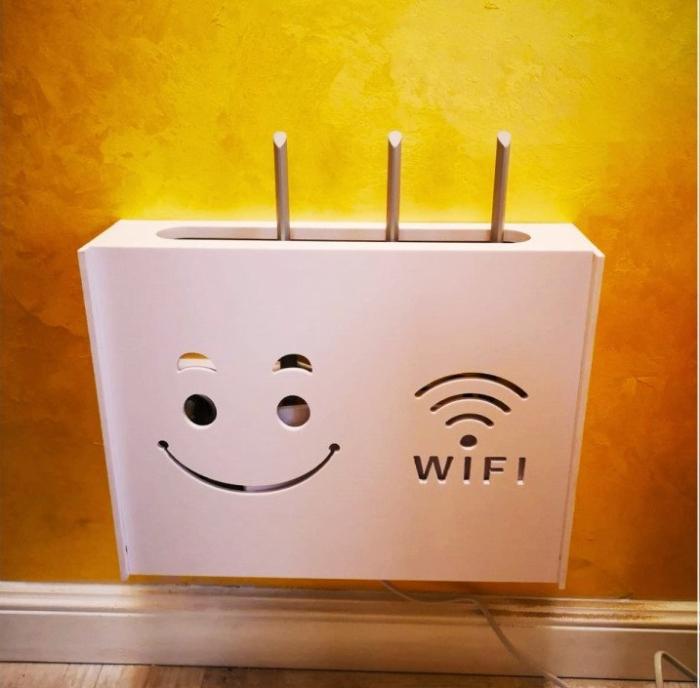 Suport Router Wireless Smiley Face 60x40x10 cm, alb, pentru mascare fire si echipament WI-FI, posibilitate montare pe perete [3]