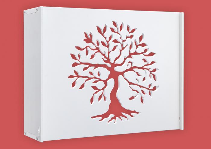 Suport Router Wireless Tree 36x28x9 cm, alb, pentru mascare fire si echipament Wi-Fi, cu posibilitate montare pe perete Optimus AT Home [0]