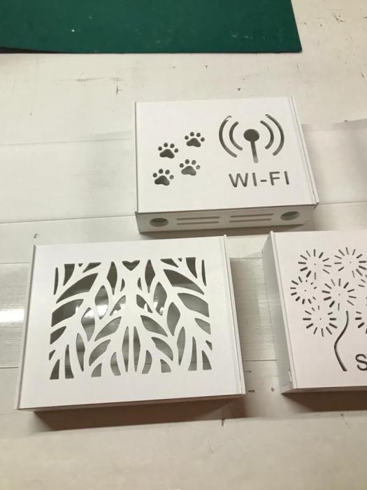 Suport Router Wireless Leaves 36x28x9 cm, alb, pentru mascare fire si echipament Wi-Fi, cu posibilitate montare pe perete Optimus AT Home [3]