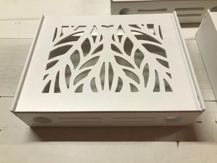 Suport Router Wireless Leaves 36x28x9 cm, alb, pentru mascare fire si echipament Wi-Fi, cu posibilitate montare pe perete Optimus AT Home [2]