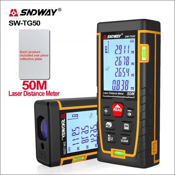 Telemetru profesional SNDWAY TG50, 2 x boloboc, functii multiple, 5 cm-50 m, distanta, aria, volum, pitagora, nivela, 30 memorii,  toleranta 2mm [4]