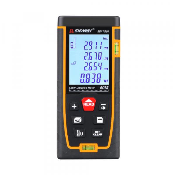 Telemetru profesional SNDWAY TG50, 2 x boloboc, functii multiple, 5 cm-50 m, distanta, aria, volum, pitagora, nivela, 30 memorii,  toleranta 2mm [0]