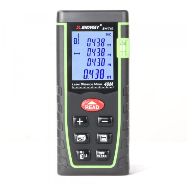 Telemetru profesional SNDWAY T40 functii multiple, 5 cm-40 m, distanta, aria, volum, pitagora, nivela, 30 memorii,  toleranta 2mm [0]
