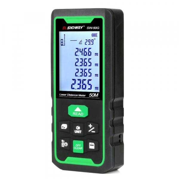 Telemetru profesional SNDWAY SW-50G functii multiple, 5 cm-50 m, distanta, aria, volum, pitagora, nivela, 30 memorii,  toleranta 2mm [0]