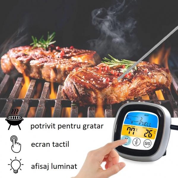 Termometru cu ecran tactil si sonda pentru alimente, gratar, interval -20 +300°C, model T7189 [1]