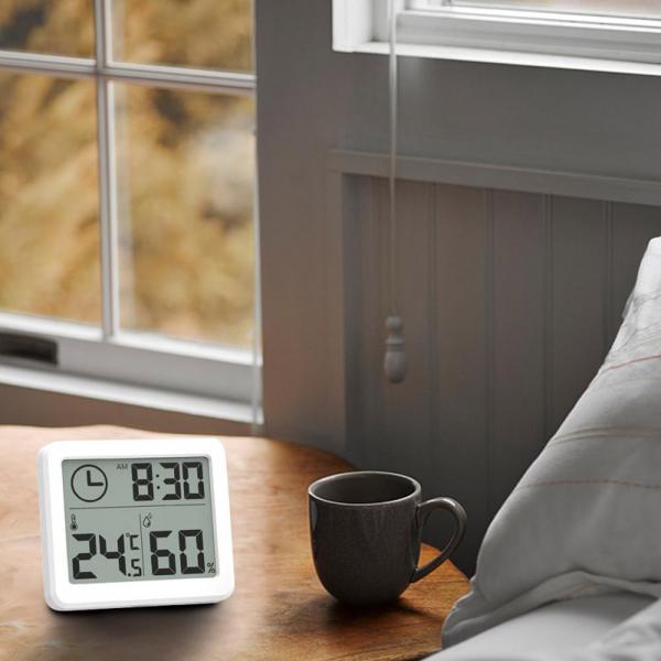 Termometru higrometru digital de casa cu ceas, termohigrometru [4]