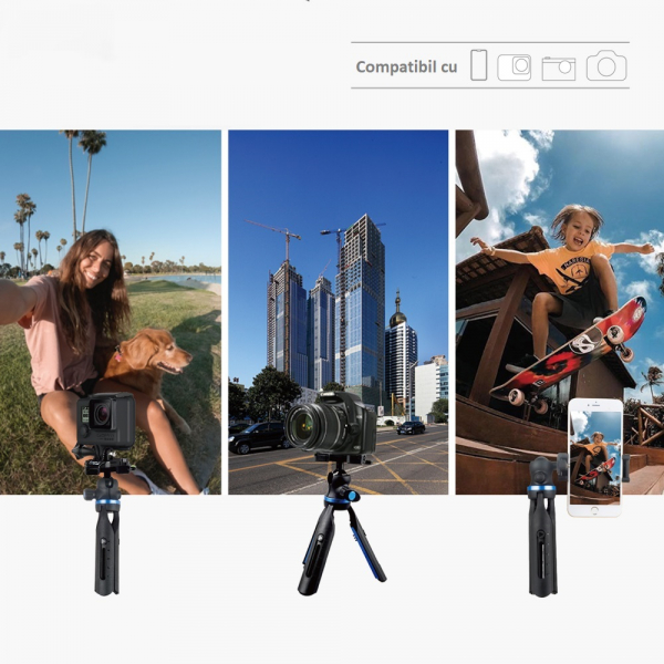 Trepied profesional aluminiu/abs, cu boloboc, rotire 360, suport telefon si prindere surub 1/4, negru/albastru [5]