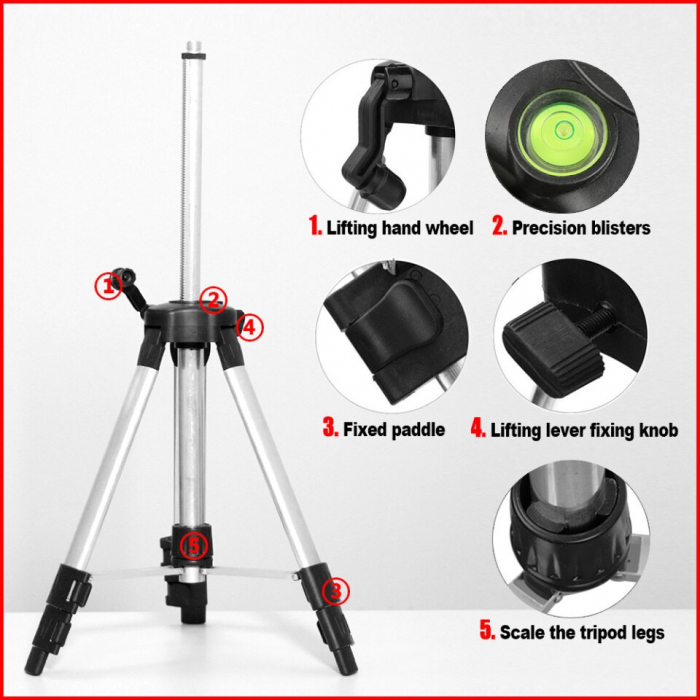 Trepied profesional RZ682 aluminiu/abs, cu boloboc, rotire 360 pentru nivela laser filet 5/8 [4]