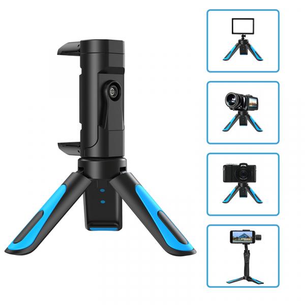 Mini Trepied profesional aluminiu/abs, rotire 360, suport telefon si prindere surub 1/4, negru/albastru [2]