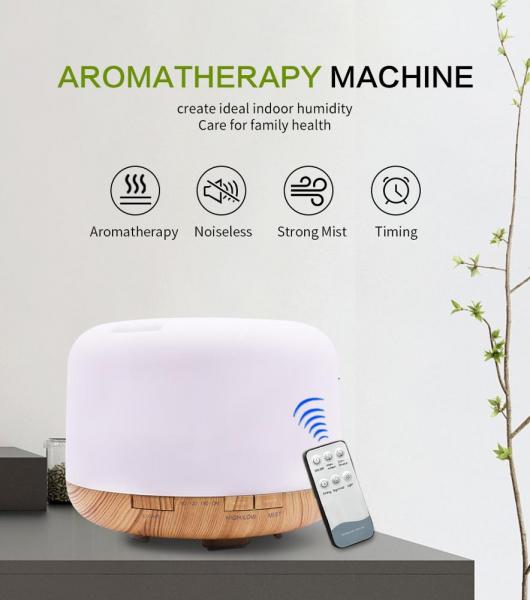 Umidificator Aromaterapie Lampa de veghe cu telecomanda Optimus AT Home™ 1552 rezervor 500ml, cu ultrasunete, 25-30m², purificator aer, lemn deschis [0]