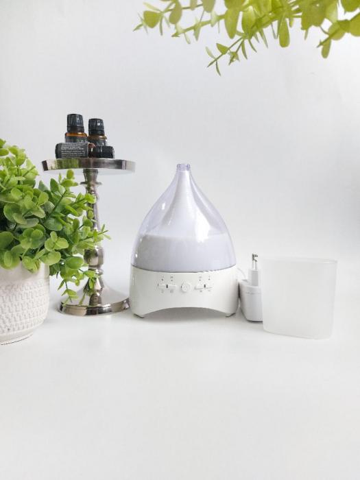 Umidificator Aromaterapie Lampa de veghe cu telecomanda Optimus AT Home™ 2028 rezervor 300ml, cu ultrasunete, 25-30m², purificator aer, white [3]