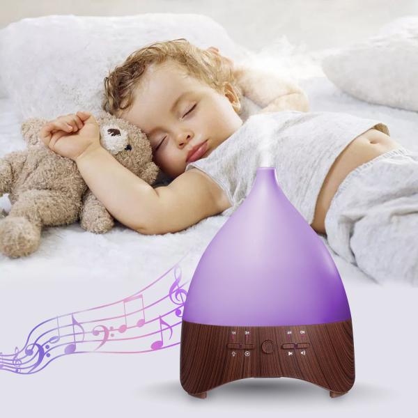 Umidificator Aromaterapie Lampa de veghe white noise Optimus AT Home™ 2028 rezervor 300ml, cu ultrasunete, 25-30m², purificator aer, dark wood [2]