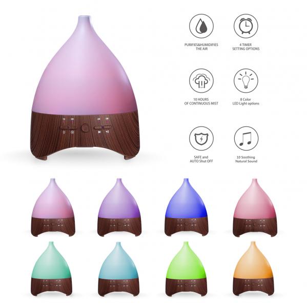 Umidificator Aromaterapie Lampa de veghe cu telecomanda Optimus AT Home™ 2028 rezervor 300ml, cu ultrasunete, 25-30m², purificator aer, dark wood [1]