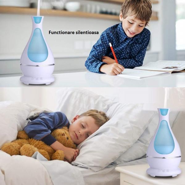 Umidificator Aromaterapie Lampa de veghe Optimus AT Home™ 1818 cu ultrasunete, 25m², purificator aer, difuzor, rezervor 400ml, white [5]