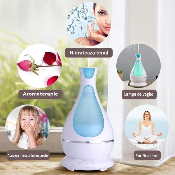 Umidificator Aromaterapie Lampa de veghe Optimus AT Home™ 1818 cu ultrasunete, 25m², purificator aer, difuzor, rezervor 400ml, white [1]