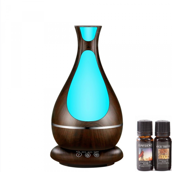 Umidificator Aromaterapie Lampa de veghe Optimus AT Home™ 1818 cu ultrasunete, , 25m², purificator aer, difuzor, rezervor 400ml, dark wood [0]