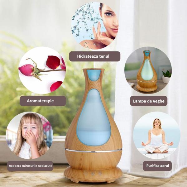 Umidificator Aromaterapie Lampa de veghe Optimus AT Home™ 1818 cu ultrasunete, 25m², purificator aer, difuzor, rezervor 400ml, light wood [3]