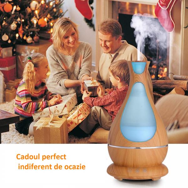 Umidificator Aromaterapie Lampa de veghe Optimus AT Home™ 1818 cu ultrasunete, 25m², purificator aer, difuzor, rezervor 400ml, light wood [4]