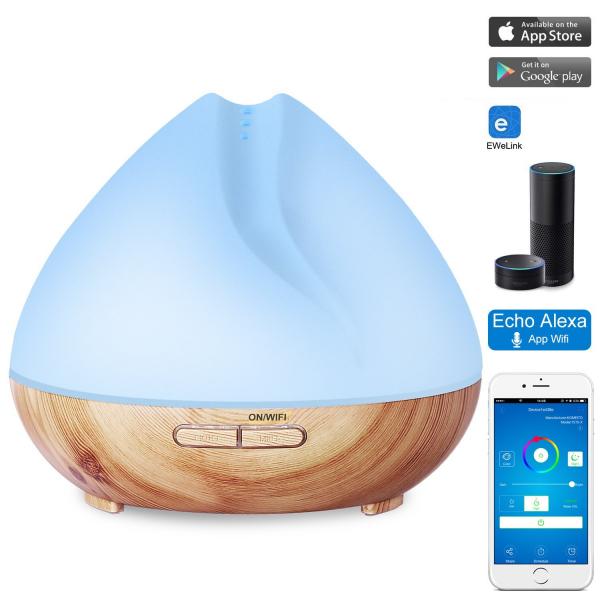 Umidificator Aromaterapie Lampa de veghe SMART Alexa Optimus AT Home™ 1701 cu ultrasunete, 30m², purificator aer, difuzor, rezervor 400ml, light wood TUYA [2]