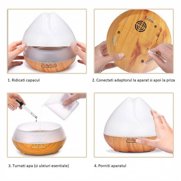 Umidificator Aromaterapie Lampa de veghe SMART Alexa Optimus AT Home™ 1701 cu ultrasunete, 30m², purificator aer, difuzor, rezervor 400ml, light wood TUYA [4]