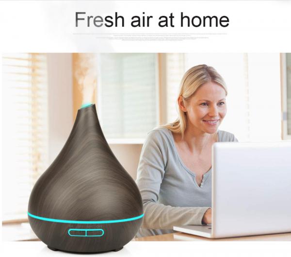 Umidificator Aromaterapie Optimus AT Home™ 1743 rezervor 400ml, cu ultrasunete, 25-30m², purificator aer, difuzor, dark wood [3]