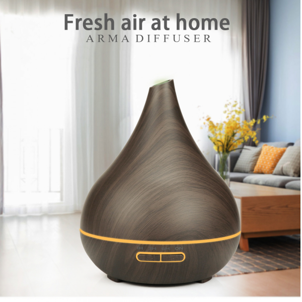 Umidificator Aromaterapie Optimus AT Home™ 1743 rezervor 400ml, cu ultrasunete, 25-30m², purificator aer, difuzor, dark wood [2]
