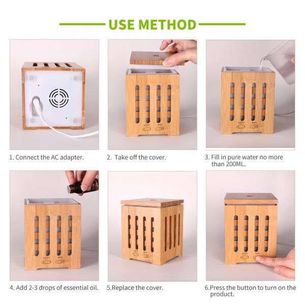 Umidificator Aromaterapie Optimus AT Home™ 1825 rezervor 200ml, cu ultrasunete, 20-25m², purificator aer, difuzor, dark wood [5]