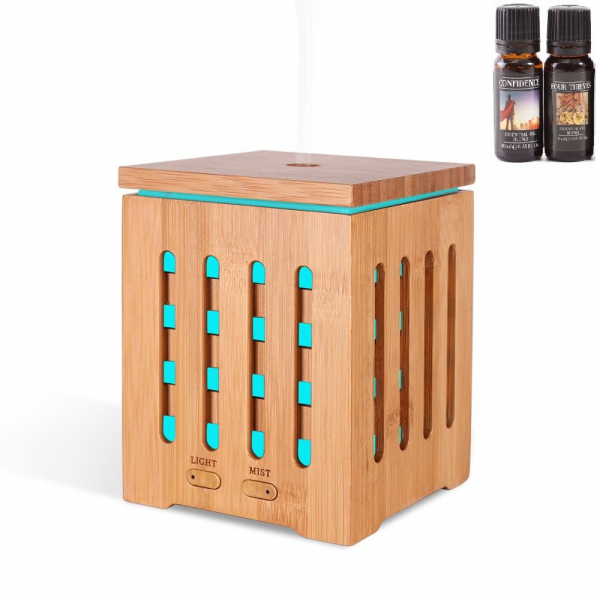 Umidificator Aromaterapie Optimus AT Home™ 1825 rezervor 200ml, cu ultrasunete, 20-25m², purificator aer, difuzor, dark wood [0]