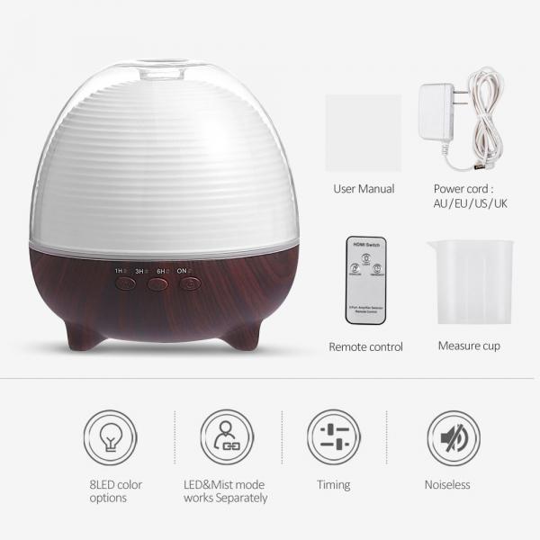 Umidificator Aromaterapie Optimus AT Home™ 1958 cu telecomanda rezervor 600ml, cu ultrasunete, 25-30m², purificator aer, difuzor, dark wood [3]