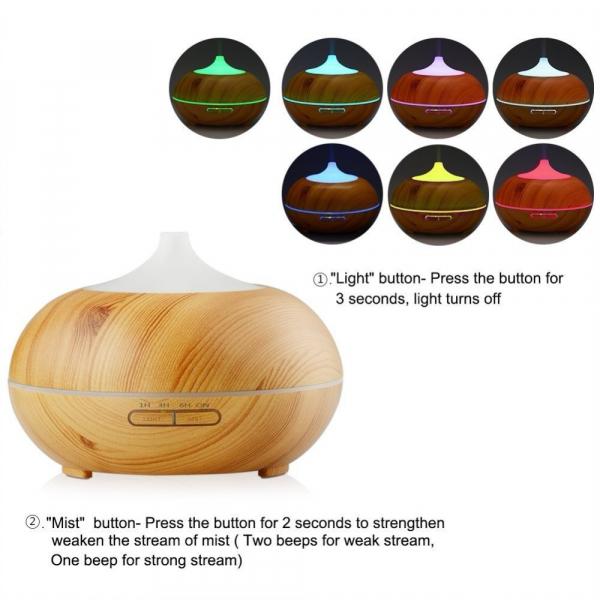 Umidificator Optimus AT Home™ 1704 cu ultrasunete, aromaterapie, 25-30m², purificator aer, difuzor, rezervor 300ml, light wood [3]