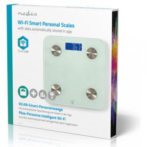NEDIS WIFIHS10WT inteligent Wi-Fi-s cântare personale BMI Grăsime corporală Apă Oase Muşchi Proteină Securizat sticlă 8 utilizator [6]