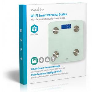 NEDIS WIFIHS10WT inteligent Wi-Fi-s cântare personale BMI Grăsime corporală Apă Oase Muşchi Proteină Securizat sticlă 8 utilizator [7]