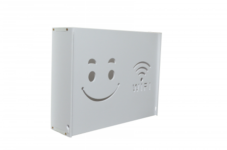 Suport Router Wireless Smiley Face 60x40x10 cm, alb, pentru mascare fire si echipament WI-FI, posibilitate montare pe perete [0]
