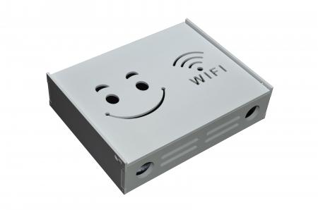 Suport Router Wireless Smiley Face 60x40x10 cm, alb, pentru mascare fire si echipament WI-FI, posibilitate montare pe perete [2]