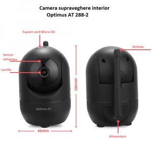 Camera supraveghere interior IP WIFI Optimus AT 288-2 fullHD 1920*1080P 2 mp comunicare bidirectionala, functie de autourmarire subiect, night vision, aplicatie telefon, negru [2]