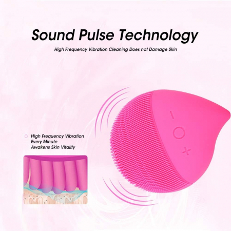 Aparat multifunctional masaj, curatare faciala Optimus AT Skin™  MC-J01  din silicon, rezistent la apa, Pink [5]