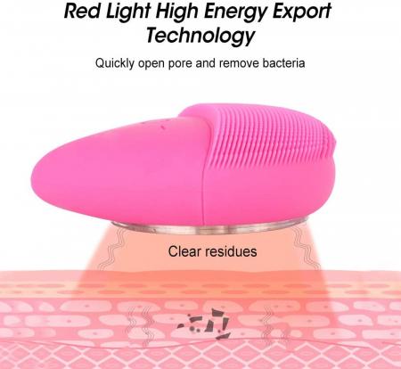 Aparat multifunctional masaj, curatare faciala Optimus AT Skin™  MC-J01  din silicon, rezistent la apa, Pink [4]
