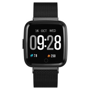 Bratara fitness curea metalica Optimus AT 7 ecran color, smartwatch, pedometru, puls, notificari, black [2]