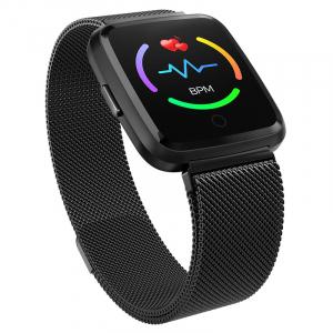 Bratara fitness curea metalica Optimus AT 7 ecran color, smartwatch, pedometru, puls, notificari, black [1]