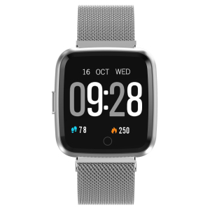 Bratara fitness curea metalica Optimus AT 7 ecran color, smartwatch, pedometru, puls, notificari, silver [2]
