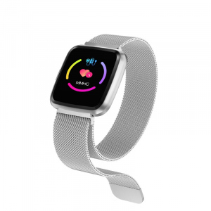 Bratara fitness curea metalica Optimus AT 7 ecran color, smartwatch, pedometru, puls, notificari, silver [1]