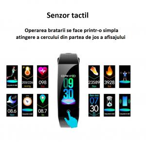 Bratara fitness Optimus AT B50i culori foarte vii, IP68, puls, tensiune, notificari, calorii, distanta, aplicatie profi, incarcare facila, black [2]