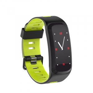 Bratara fitness sport ultra usoara Optimus AT 44 IP68, puls, tensiune, pedometru, notificari, calorii, distanta, moduri sport, black/green [1]