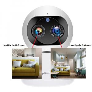Camera supraveghere interior IP WIFI cu 2 lentile Optimus AT 3612, full HD, 3.6mm 8mm, autourmarire, comunicare bidirecionala [0]