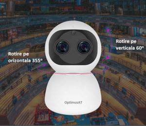Camera supraveghere interior IP WIFI cu 2 lentile Optimus AT 3612, full HD, 3.6mm 8mm, autourmarire, comunicare bidirecionala [4]
