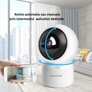 Camera supraveghere interior IP WIFI/LAN Optimus AT 308-2 fullHD 1920*1080P 2 mp comunicare bidirectionala, functie de auto urmarire subiect, night vision, aplicatie telefon [5]